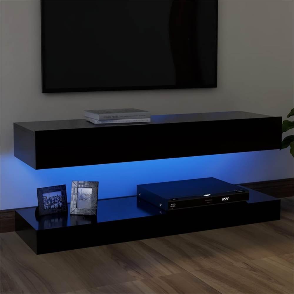 Meuble TV avec éclairage LED Noir 120x35 cm