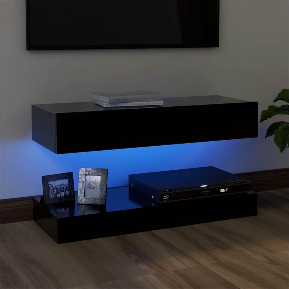 Meuble TV avec éclairage LED Noir 90x35 cm