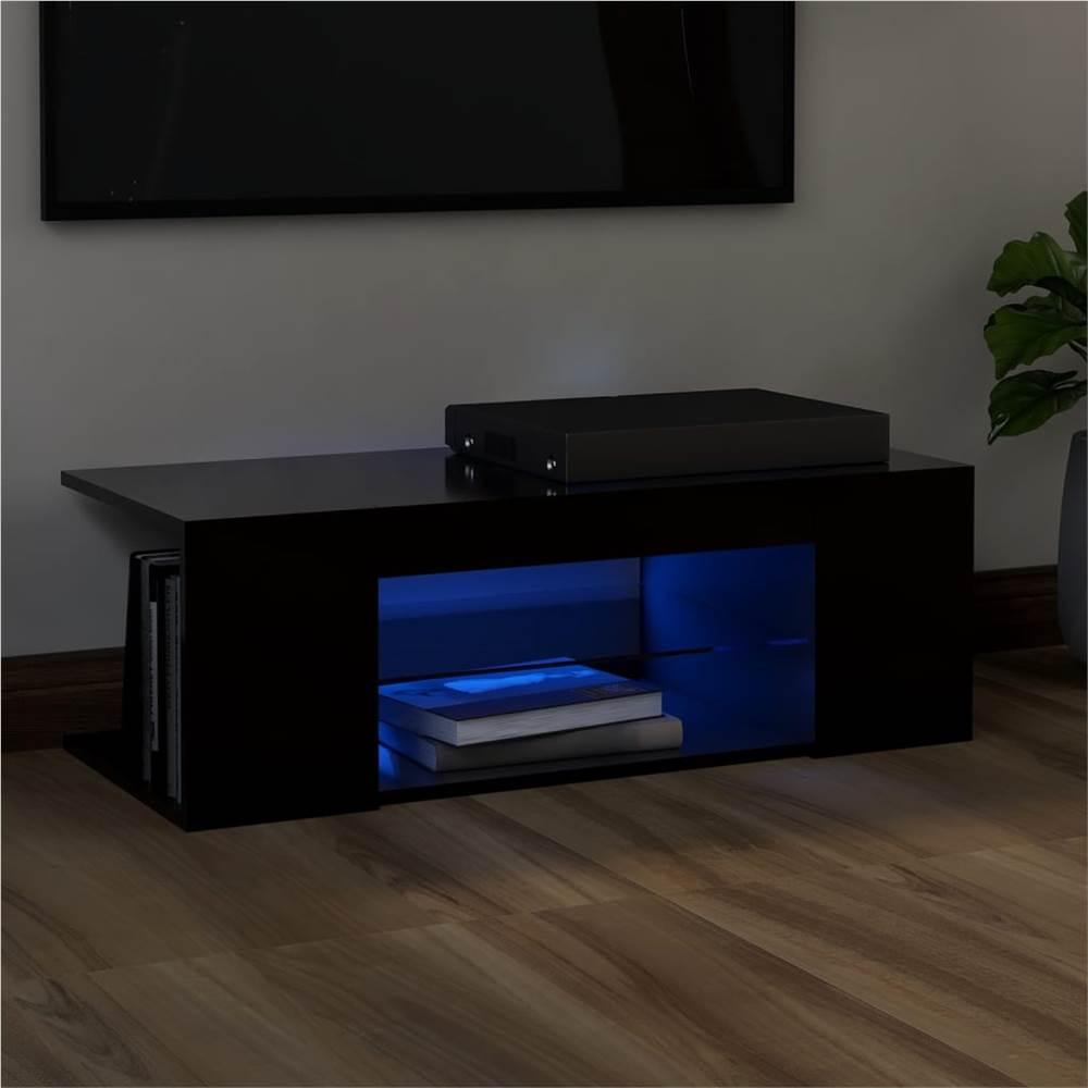 Meuble TV avec éclairage LED Noir 90x39x30 cm