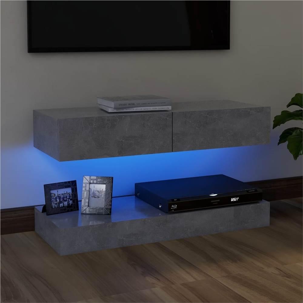 Meuble TV avec éclairage LED Gris Béton 90x35 cm