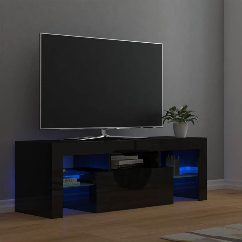 Meuble TV avec lumières LED noir brillant 120x35x40 cm