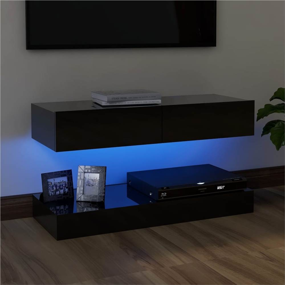 Meuble TV avec éclairage LED Noir Brillant 90x35 cm