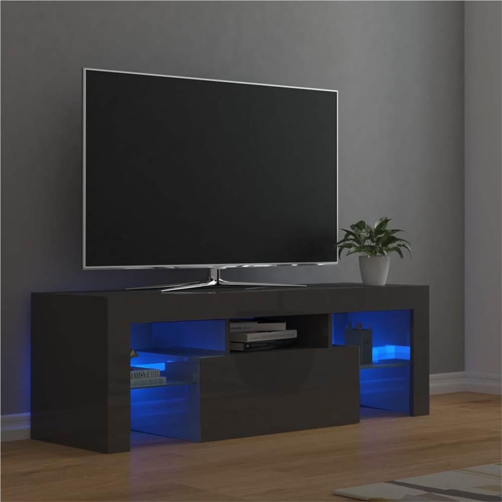 Meuble TV avec lumières LED gris brillant 120x35x40 cm