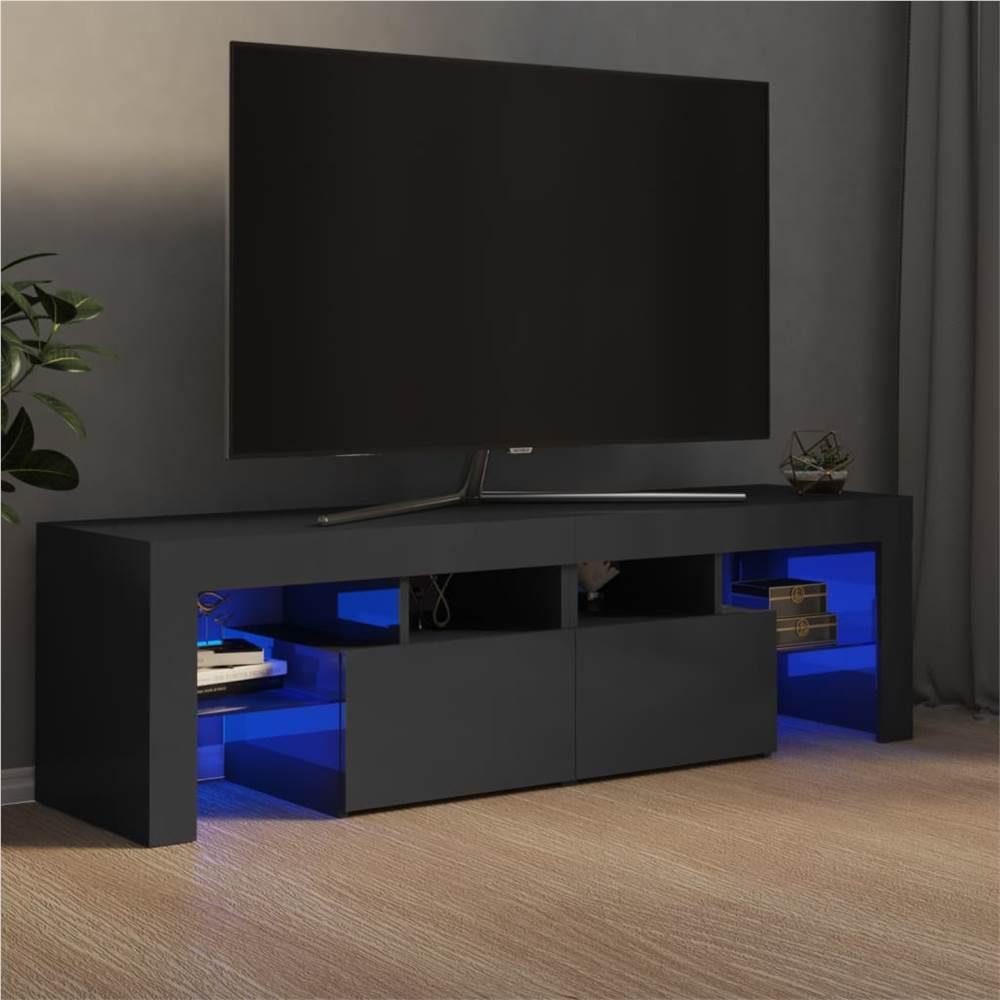 Meuble TV avec lumières LED gris brillant 140x35x40 cm