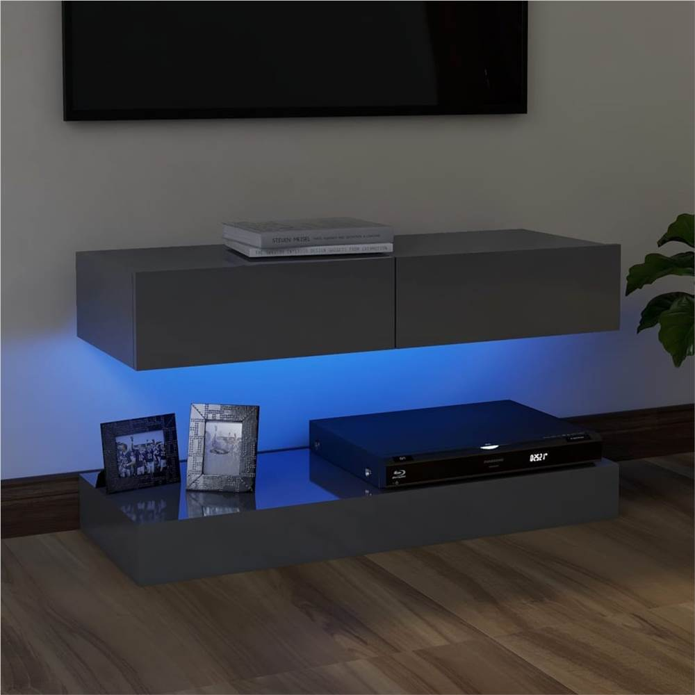 TV Cabinet with LED Lights High Gloss Grey 90x35 cm
