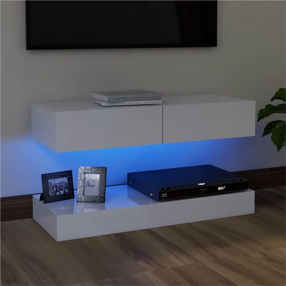 Meuble TV avec éclairage LED Blanc Brillant 90x35 cm