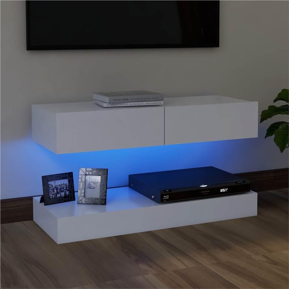 Meuble TV avec éclairage LED Blanc 90x35 cm