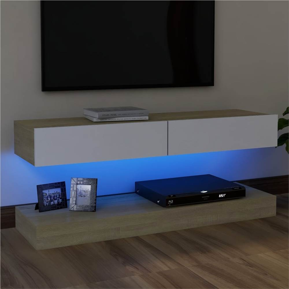TV Cabinet with LED Lights White and Sonoma Oak 120x35 cm