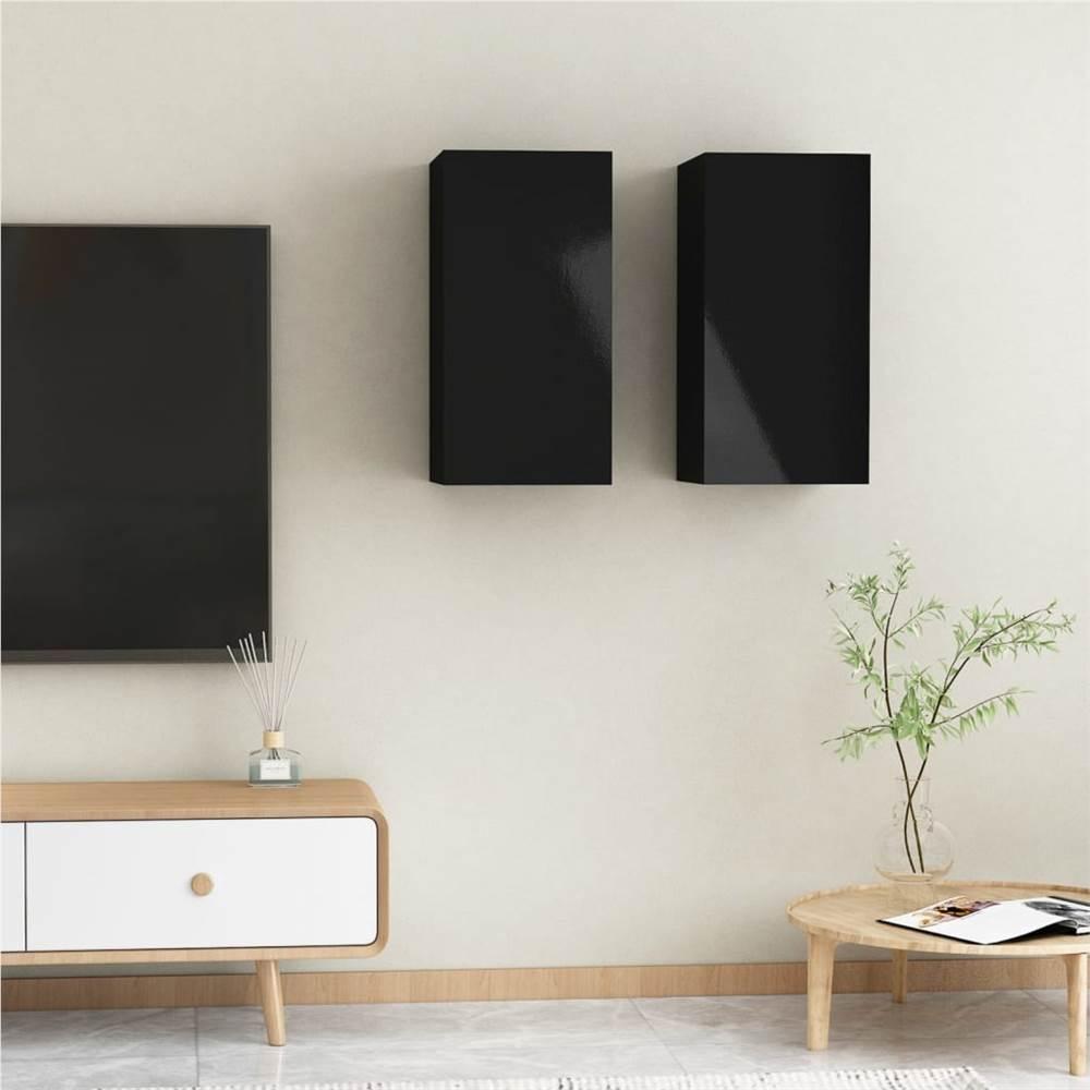 Meubles TV 2 pcs Noir Brillant 30.5x30x60 cm Aggloméré