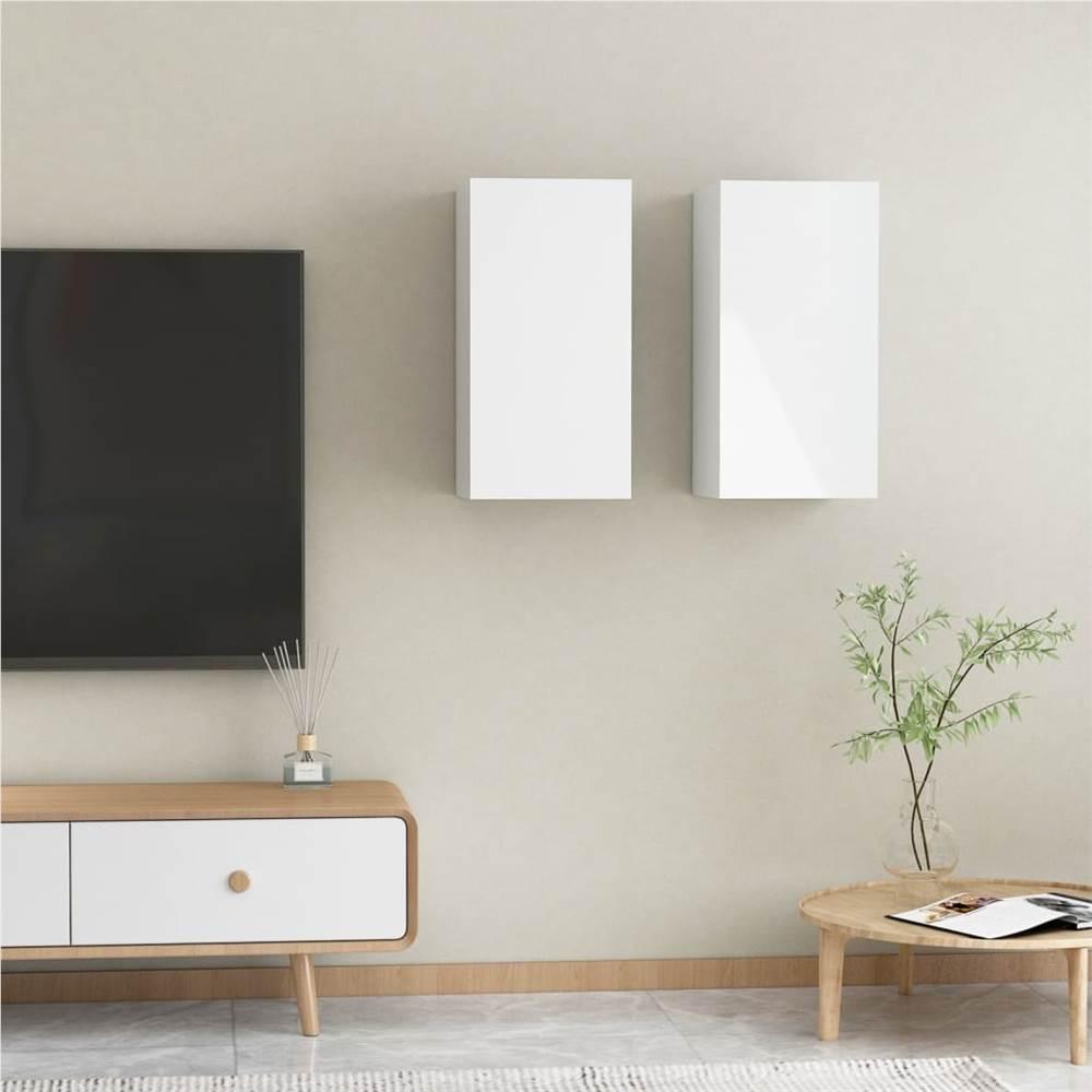 Meubles TV 2 pcs Blanc Brillant 30.5x30x60 cm Aggloméré