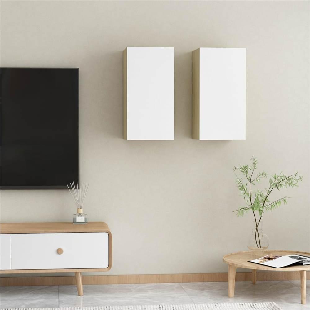 Meubles TV 2 pcs Blanc et Chêne Sonoma 30.5x30x60 cm Aggloméré