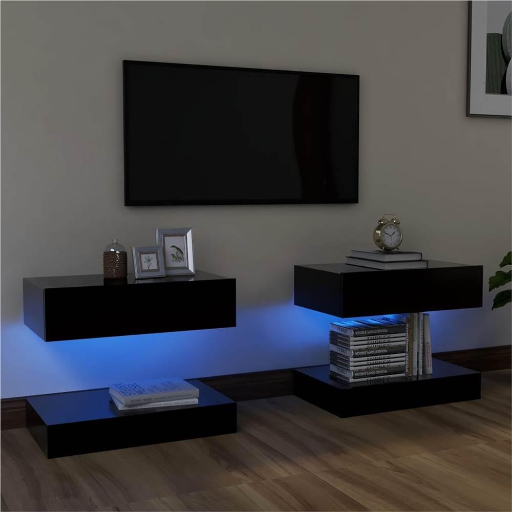 Meubles TV avec éclairage LED 2 pcs Noir 60x35 cm