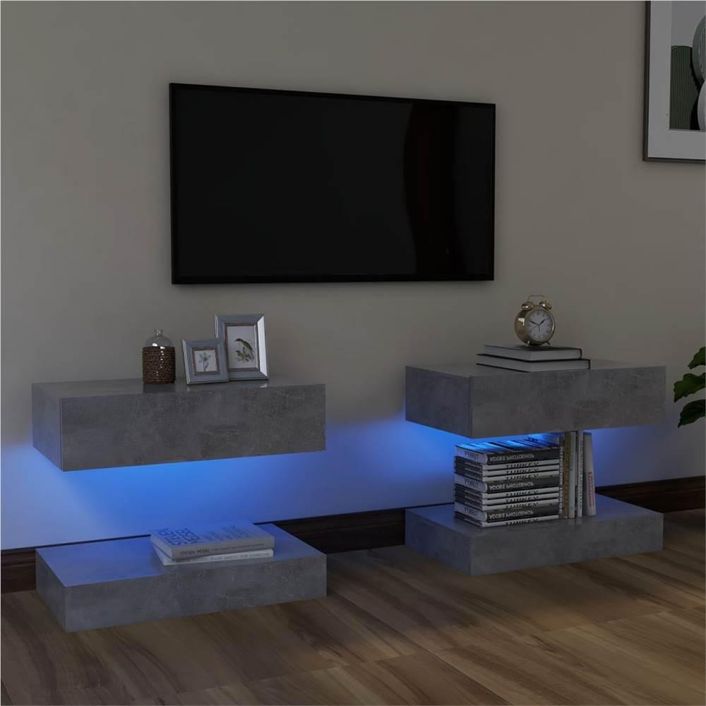 Meubles TV avec éclairage LED 2 pcs Béton Gris 60x35 cm