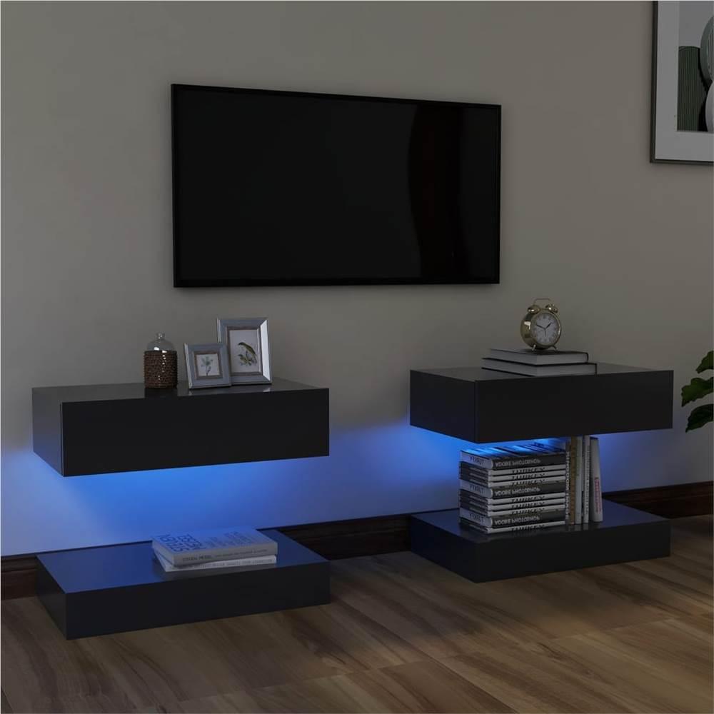 Meubles TV avec éclairage LED 2 pcs Gris 60x35 cm