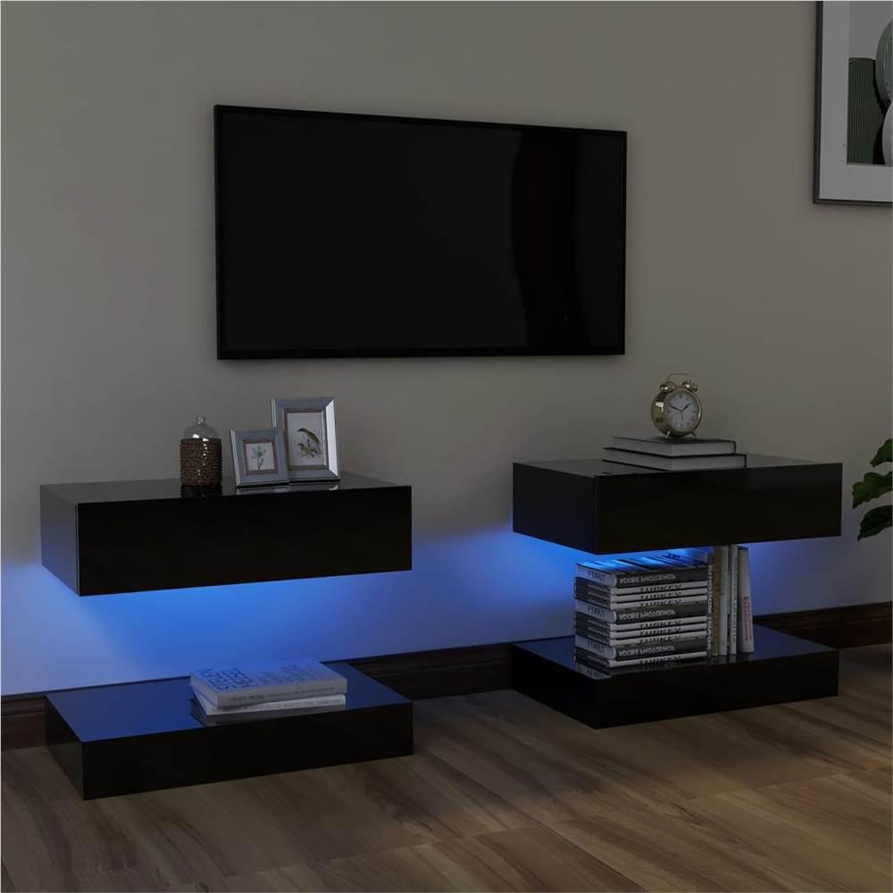 Meubles TV avec éclairage LED 2 pcs Noir brillant 60x35 cm