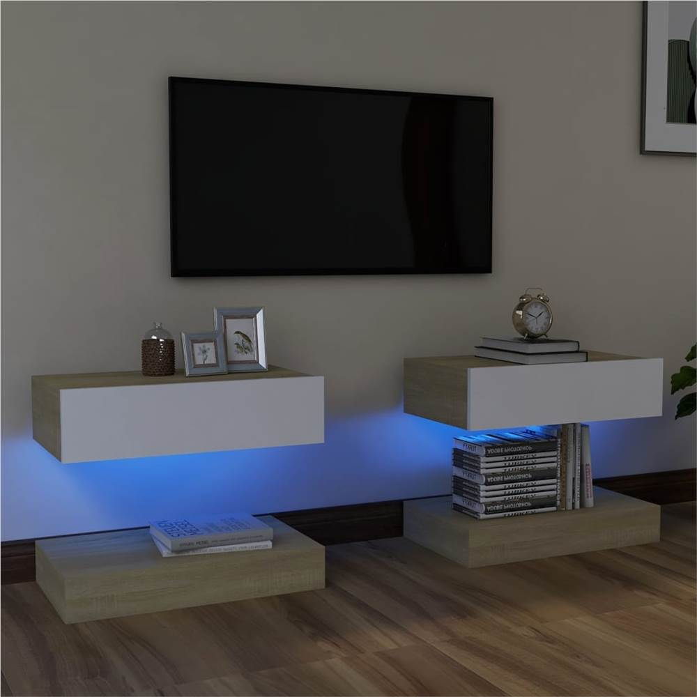 Meubles TV avec éclairage LED 2 pcs Blanc et Chêne Sonoma 60x35 cm