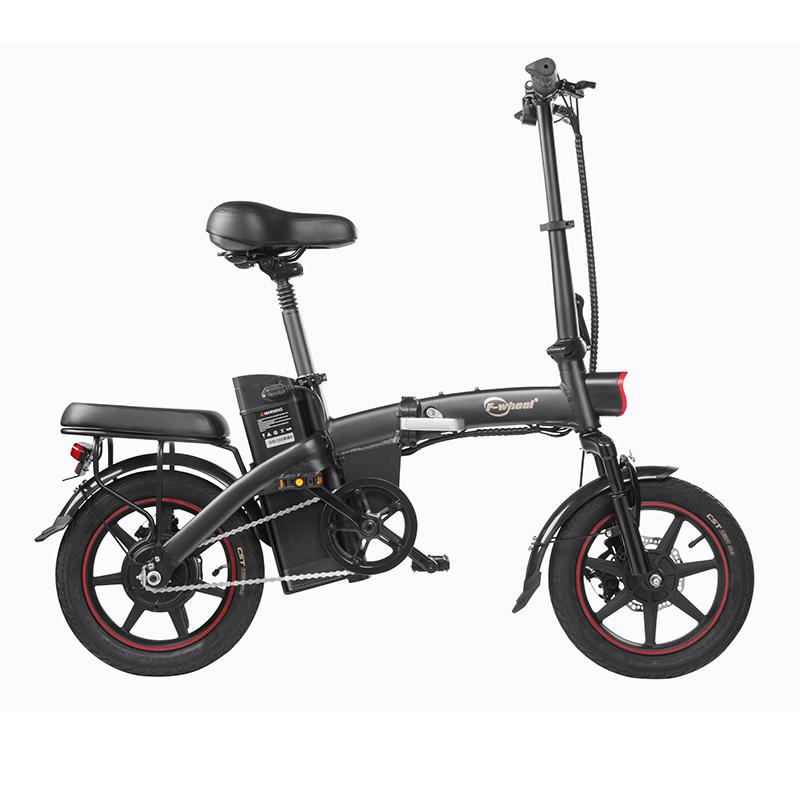 DYUA5標準折りたたみ式モペット電動自転車14インチ25km / h速度40km走行距離範囲取り外し可能7.5Ahバッテリー350Wダブルブレーキシステム最大負荷150kg-黒