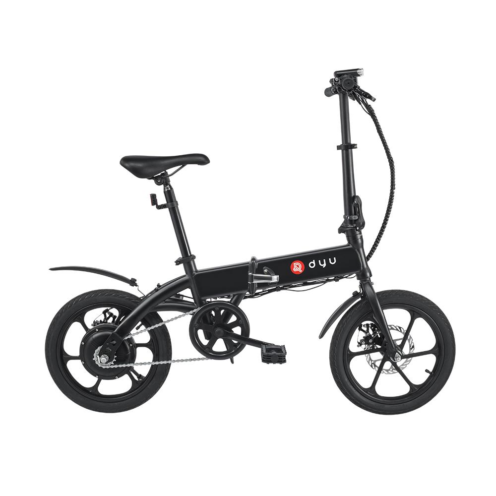 DYUA1F折りたたみ式モペット電動自転車16インチ25km / h最高速度15-20km走行距離5Ahバッテリー250Wダブルブレーキシステム最大負荷120kg-黒