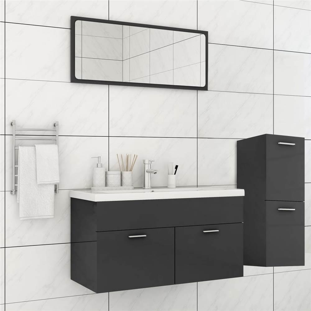 Bathroom Furniture Set High Gloss Grey Chipboard