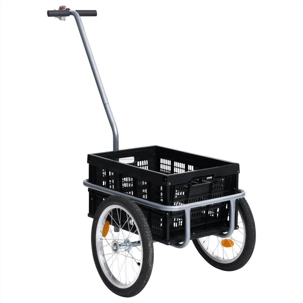50L折りたたみ式トランスポートボックスブラック150kg付き自転車カーゴトレーラー