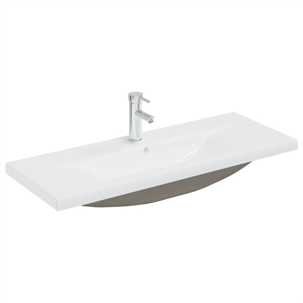 Built-in Basin with Faucet 101x39x18 cm Ceramic White