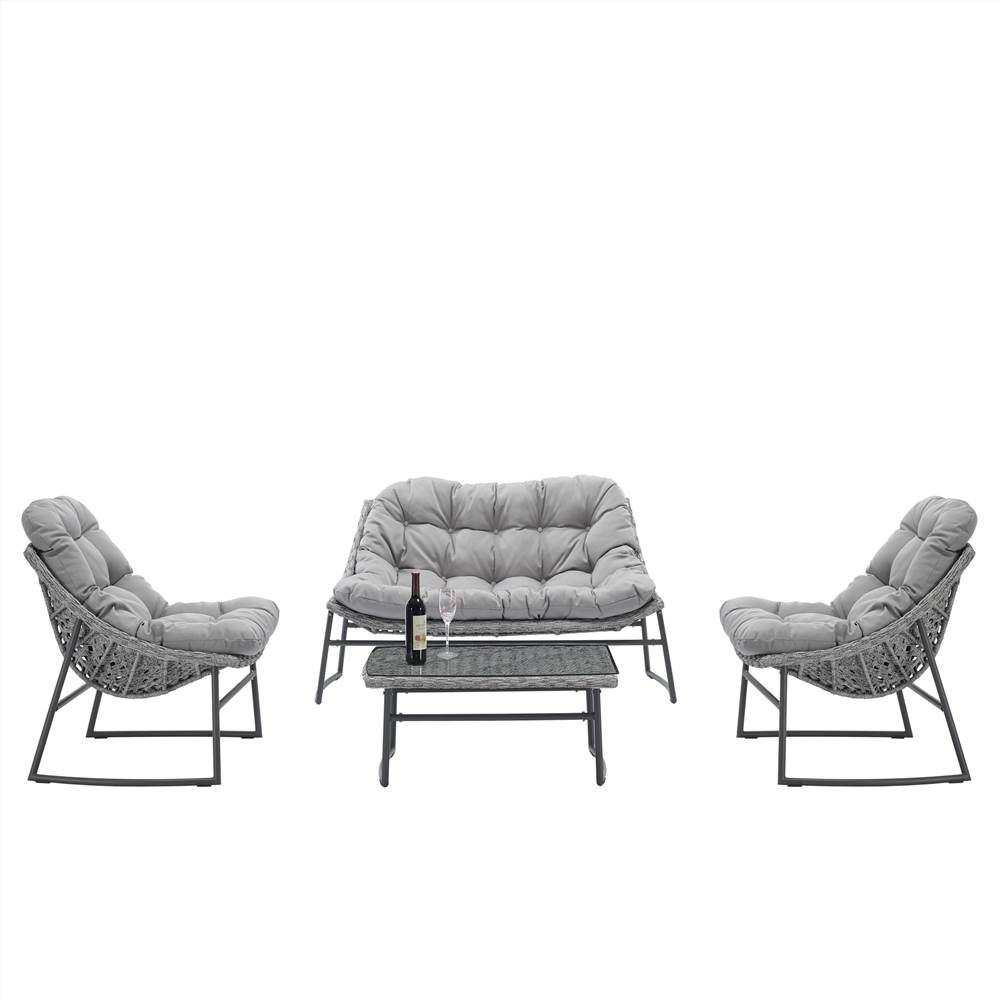 4 Pieces Outdoor Rattan Furniture Set, Including 2 Armchairs, 1 Loveseat Sofa, and 1 Coffee Table, for Garden, Terrace, Porch, Poolside, Beach - Gray