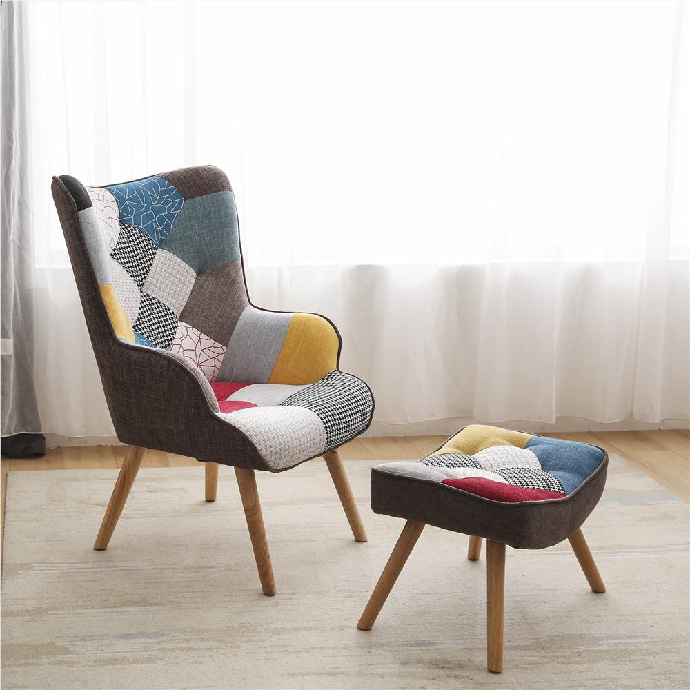 Linen Fabric Patchwork Armchair with Ottoman, and Wooden Frame, for Living Room, Bedroom, Bathroom - Colorful