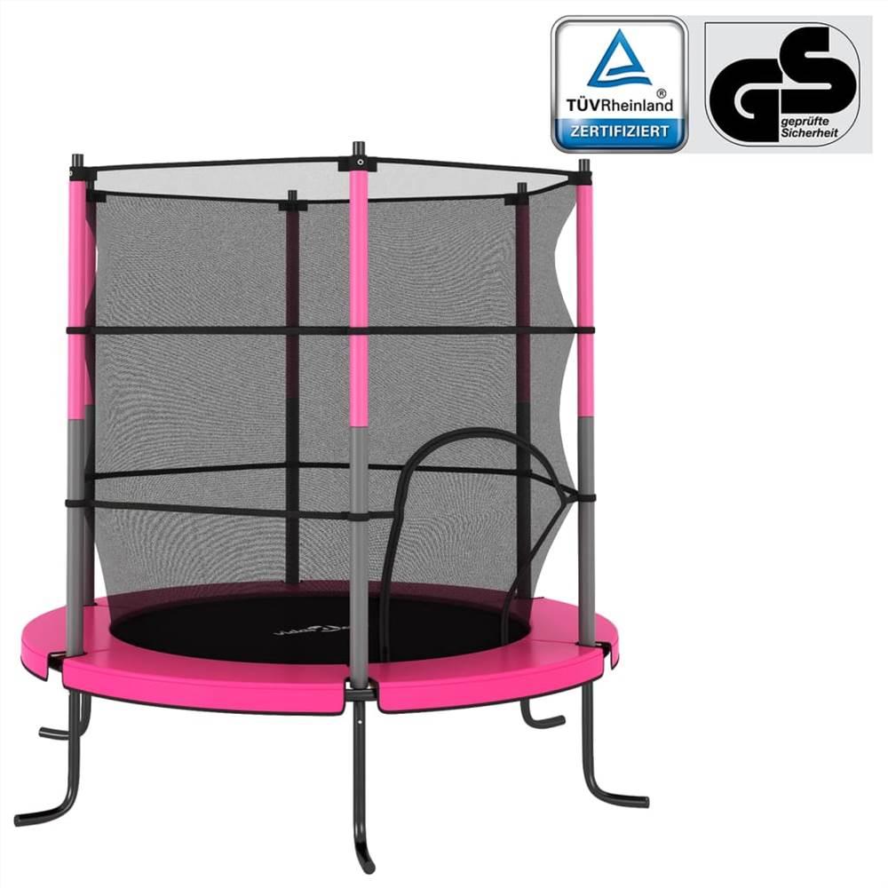 Trambulin biztonsági hálóval kerek 140x160 cm rózsaszín