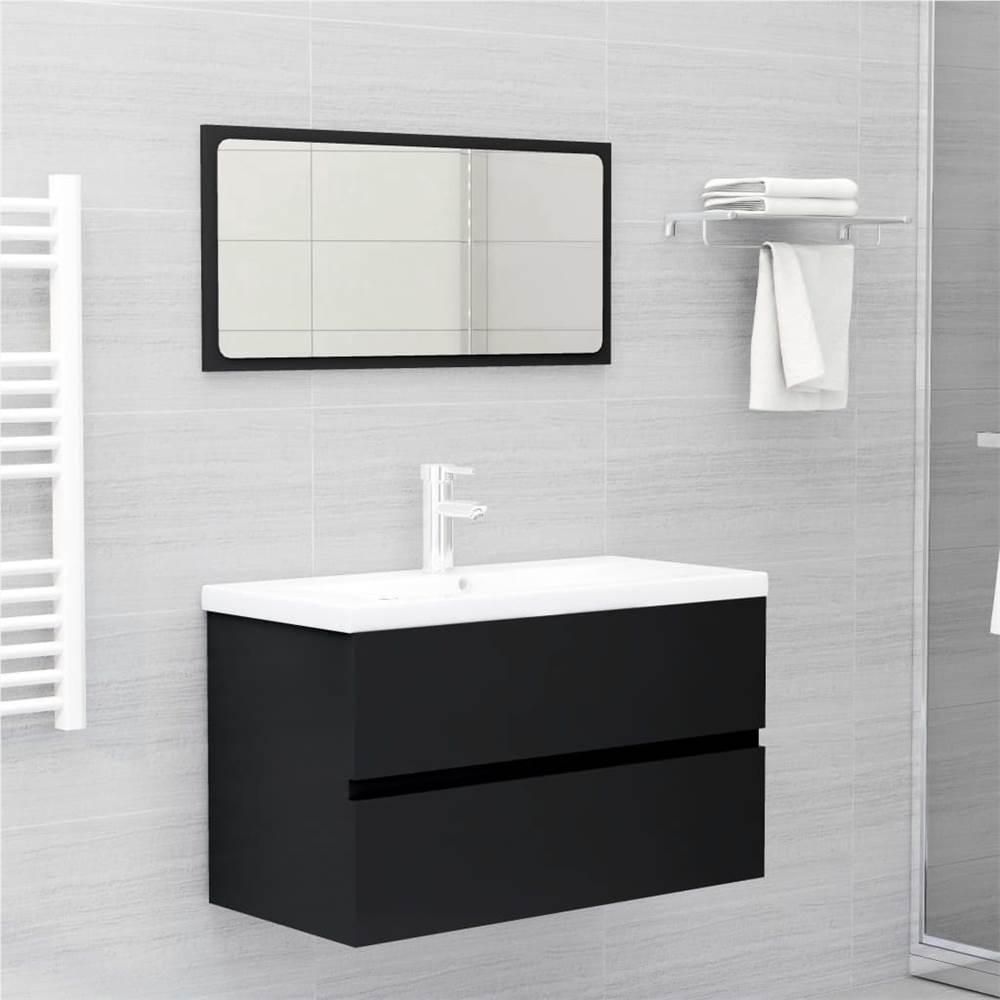 Bathroom Furniture Set Black Chipboard