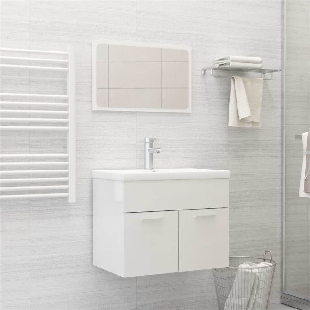 Bathroom Furniture Set High Gloss White Chipboard