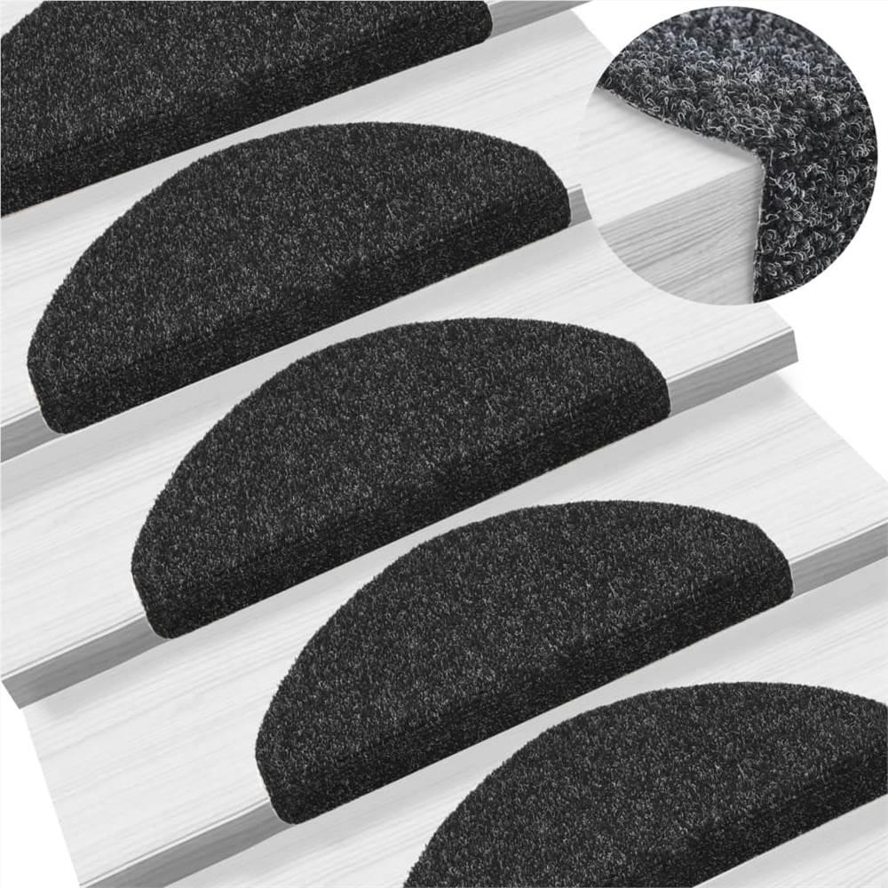 Self-adhesive Stair Mats 5 pcs Black 65x21x4 cm Needle Punch