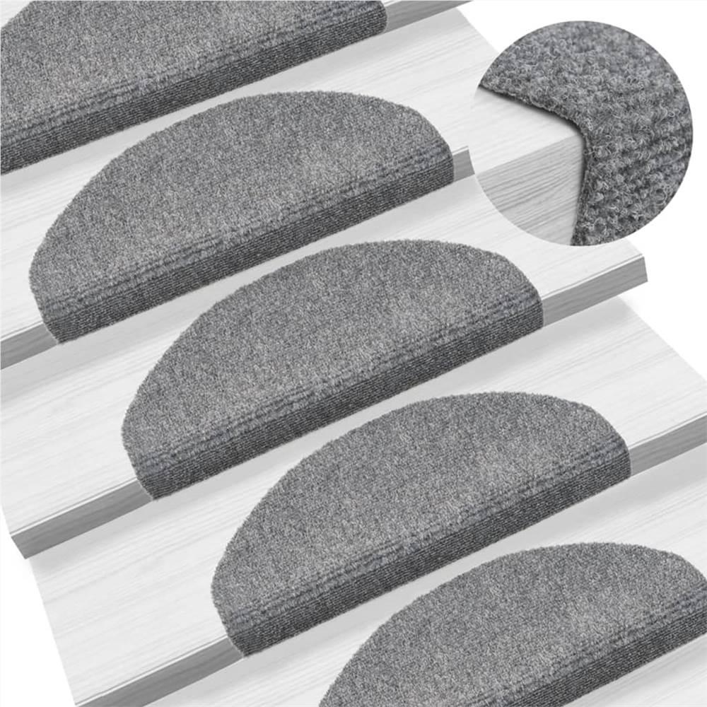Self-adhesive Stair Mats 5 pcs Light Grey 65x21x4 cm Needle Punch