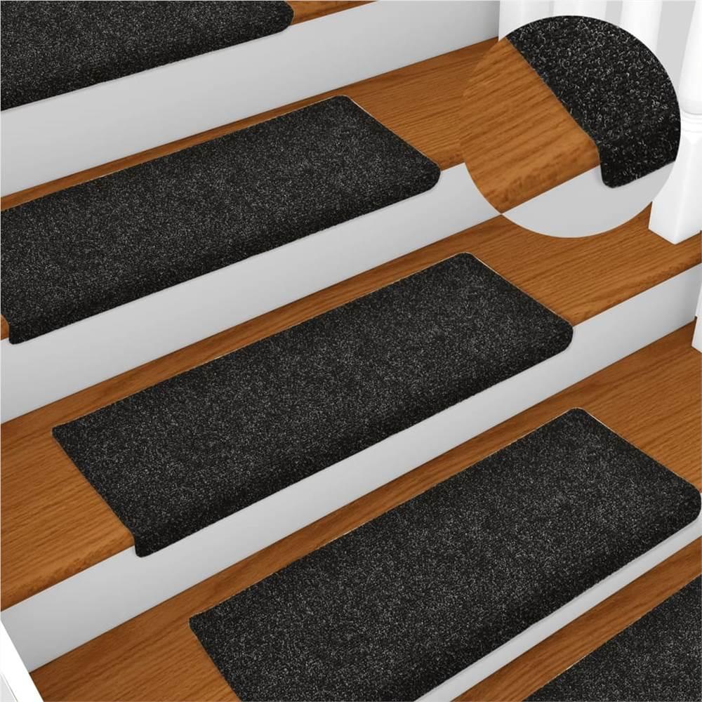 Stair Mats 10 pcs Black 65x25 cm Needle Punch