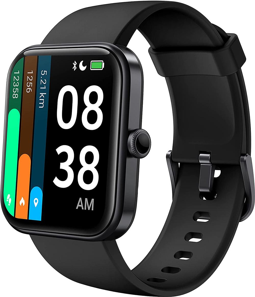 """ID206 1.69 """"Bluetooth Smartwatch Heart Rate Sleep Monitor 5ATM Водонепроницаемость поддерживает несколько языков для iOS Android - черный"""