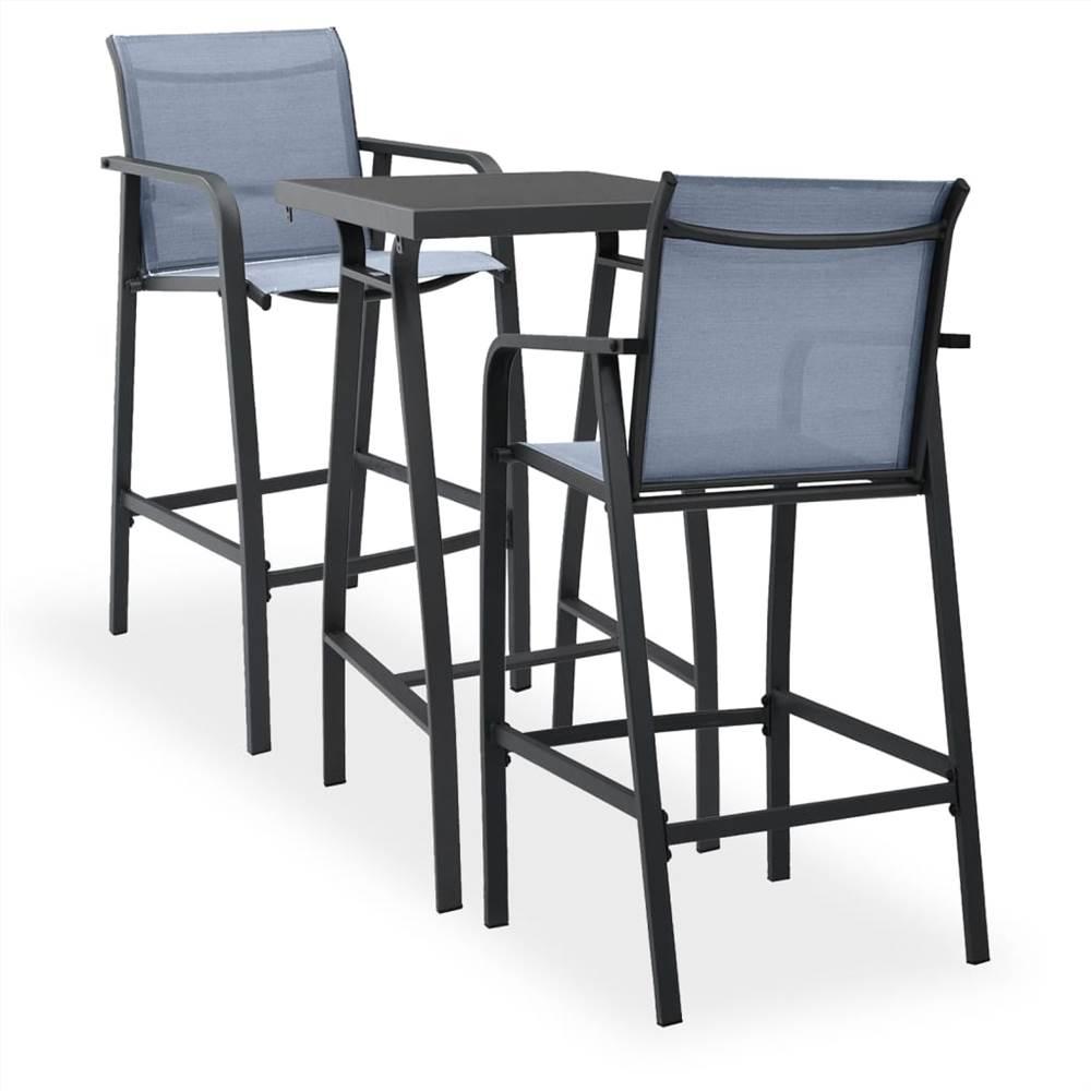 3 Piece Garden Bar Set Black and Grey
