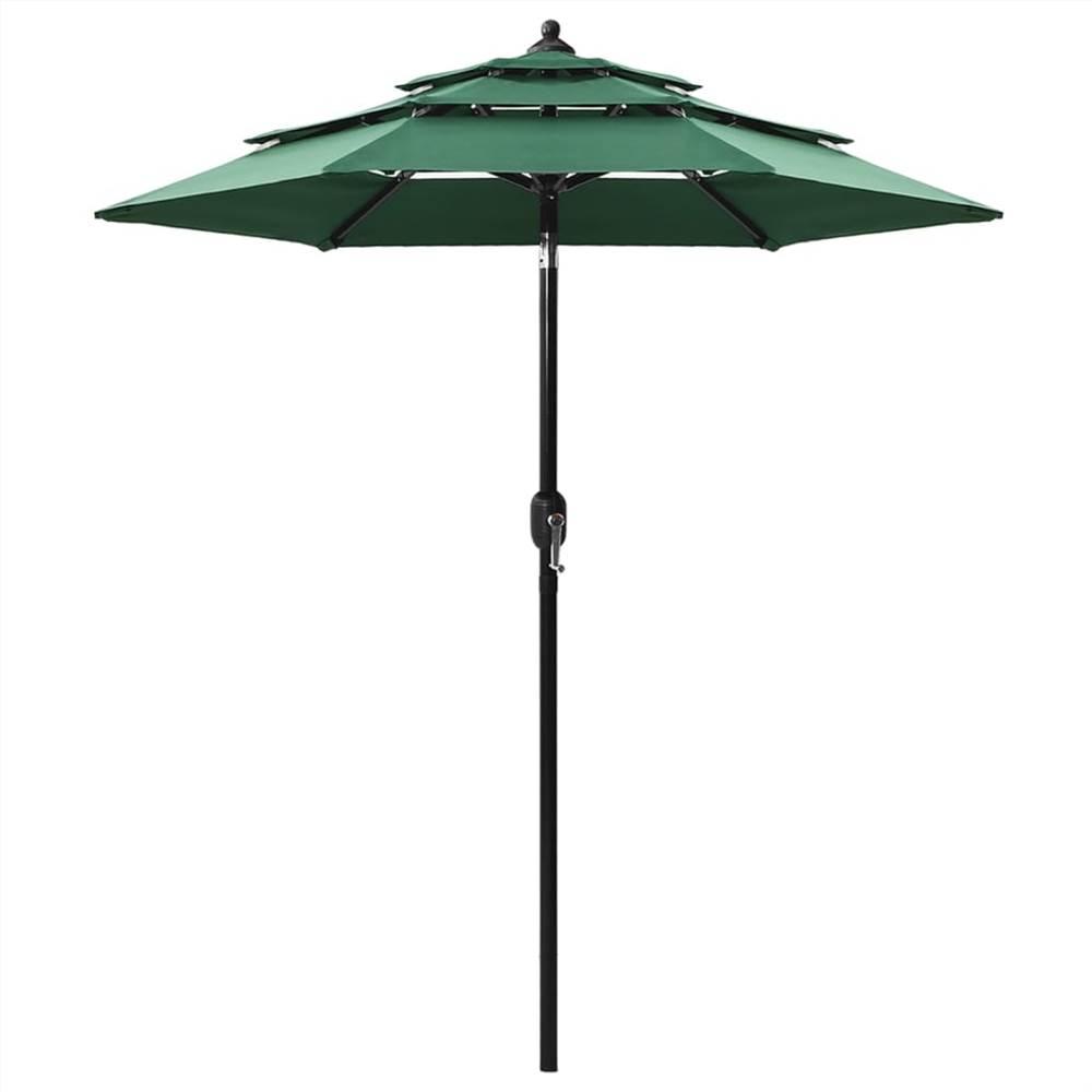 Ombrellone a 3 livelli con palo in alluminio Verde 2 m