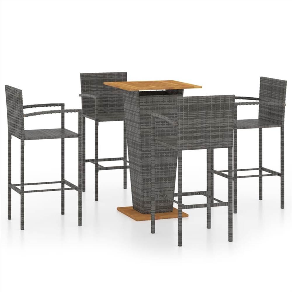 5 Piece Garden Bar Set Grey