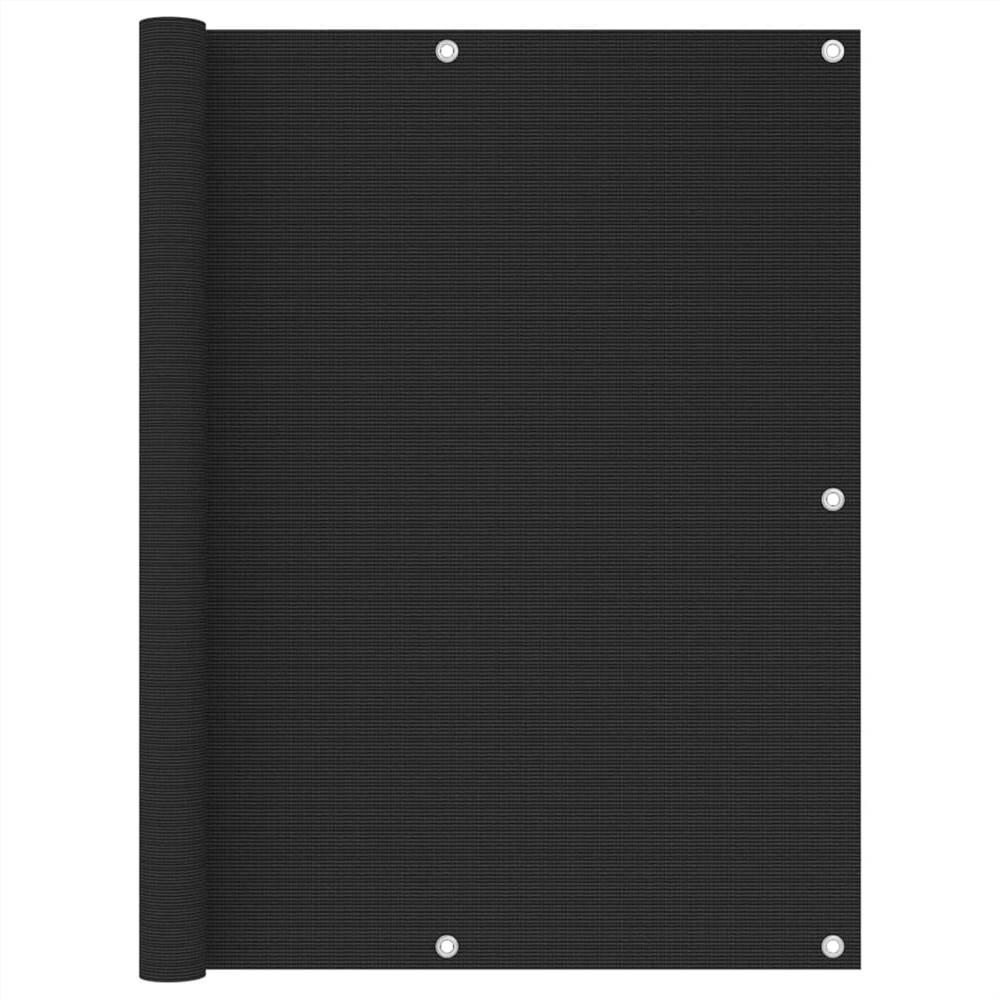 Balcony Screen Black 120x600 cm HDPE