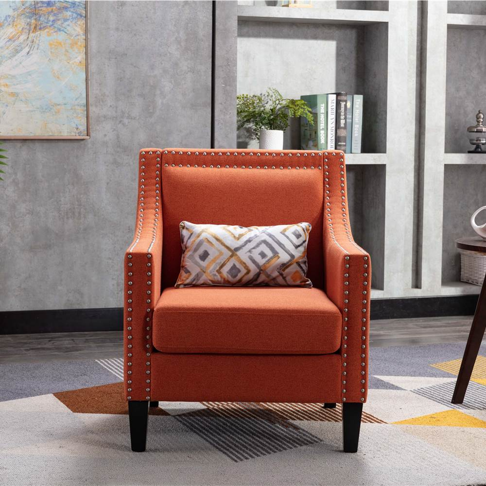 COOLMORE Linen Fabric Upholstered Sofa Chair with Nailheads, and Solid Wood Legs, for Living Room, Bedroom, Office, Apartment - Orange