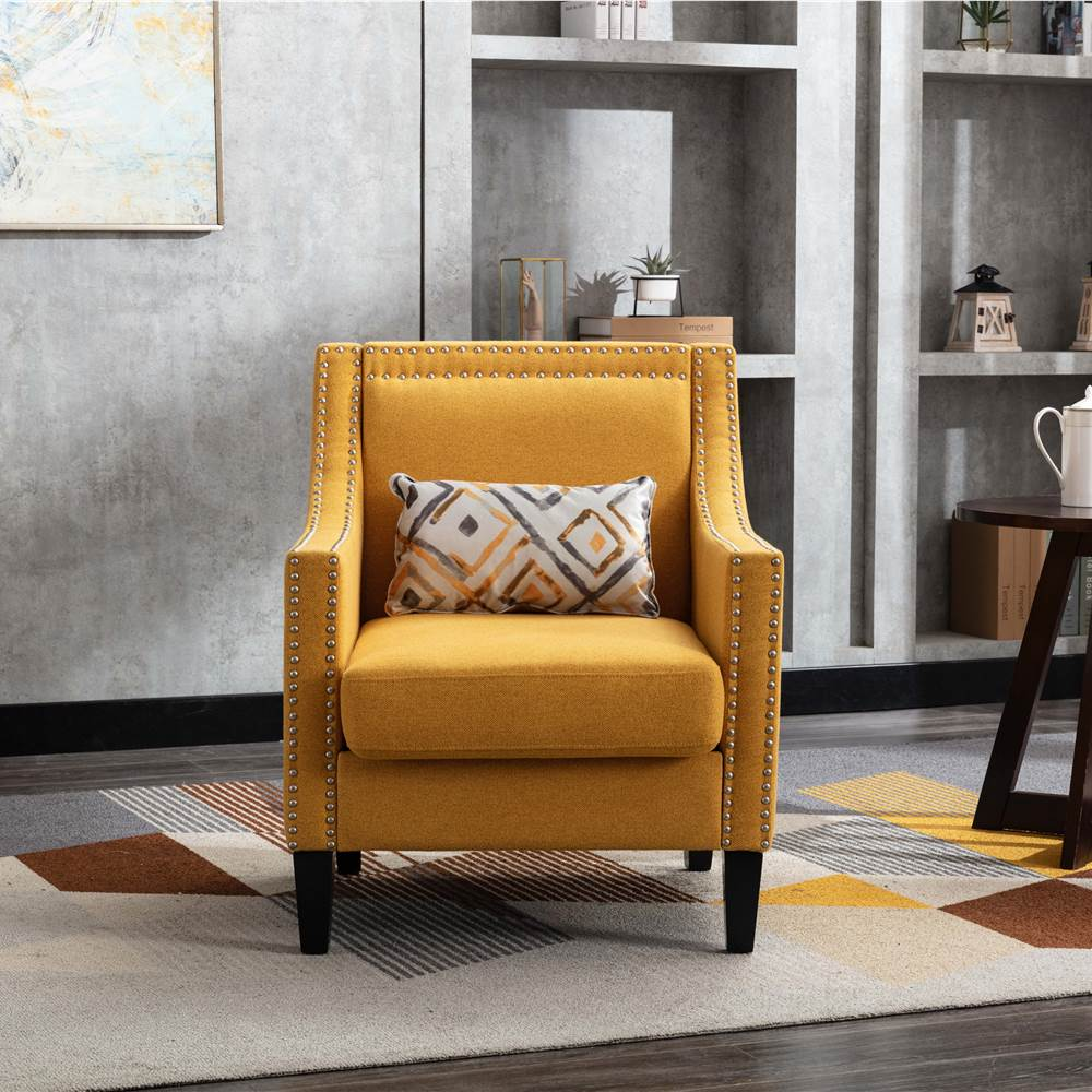 COOLMORE Linen Fabric Upholstered Sofa Chair with Nailheads, and Solid Wood Legs, for Living Room, Bedroom, Office, Apartment - Yellow