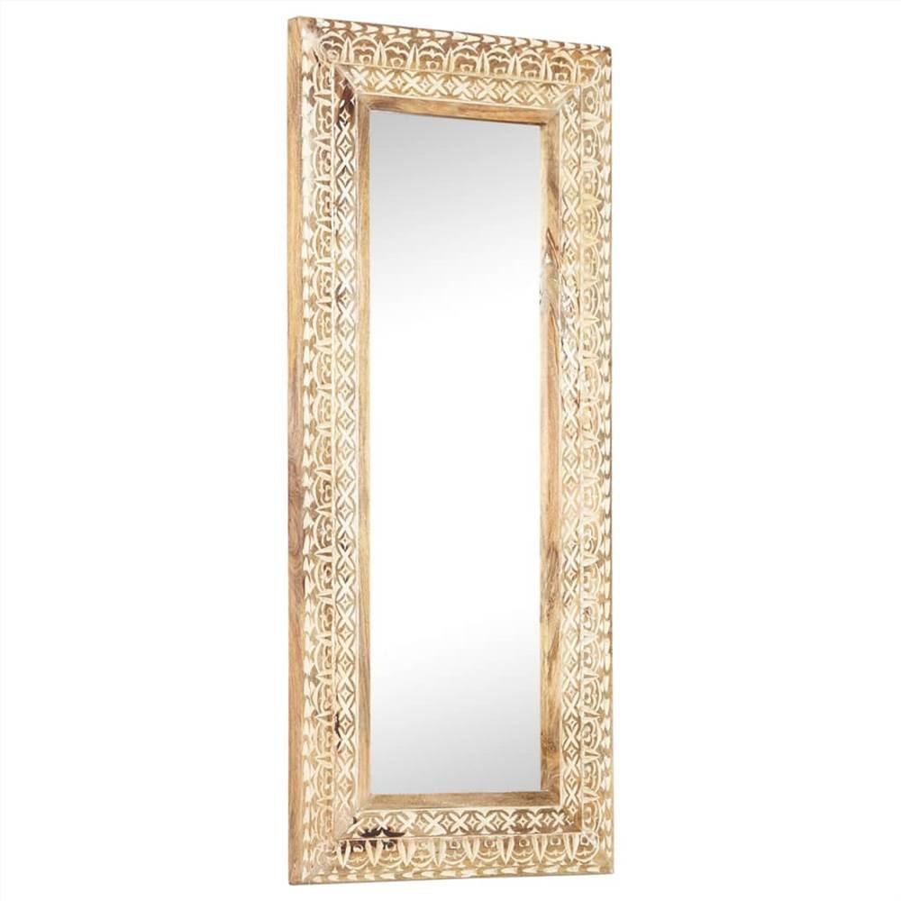 Hand-Carved Mirror 110x50x11 cm Solid Mango Wood