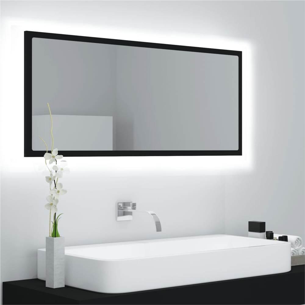 Specchio Bagno LED Nero 100x8.5x37 cm Truciolare