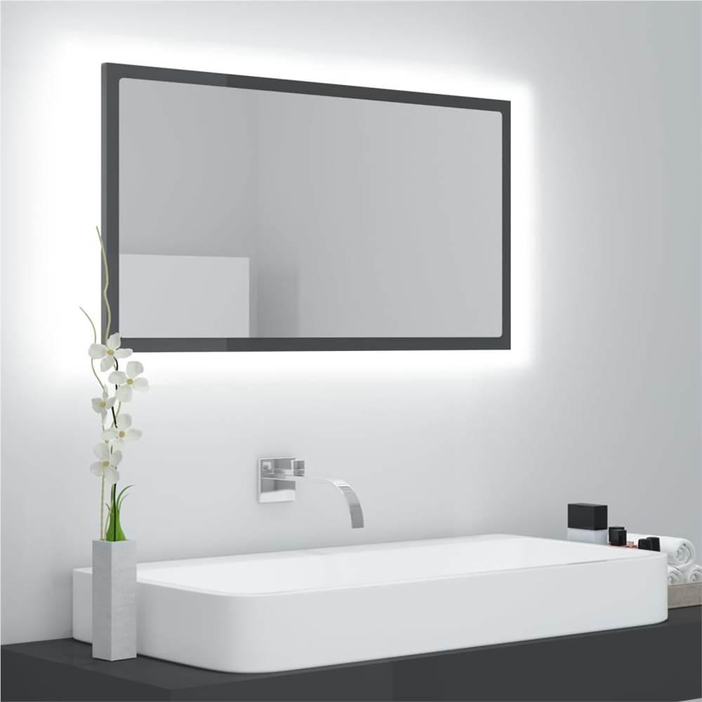 LED Bathroom Mirror High Gloss Grey 80x8.5x37 cm Chipboard