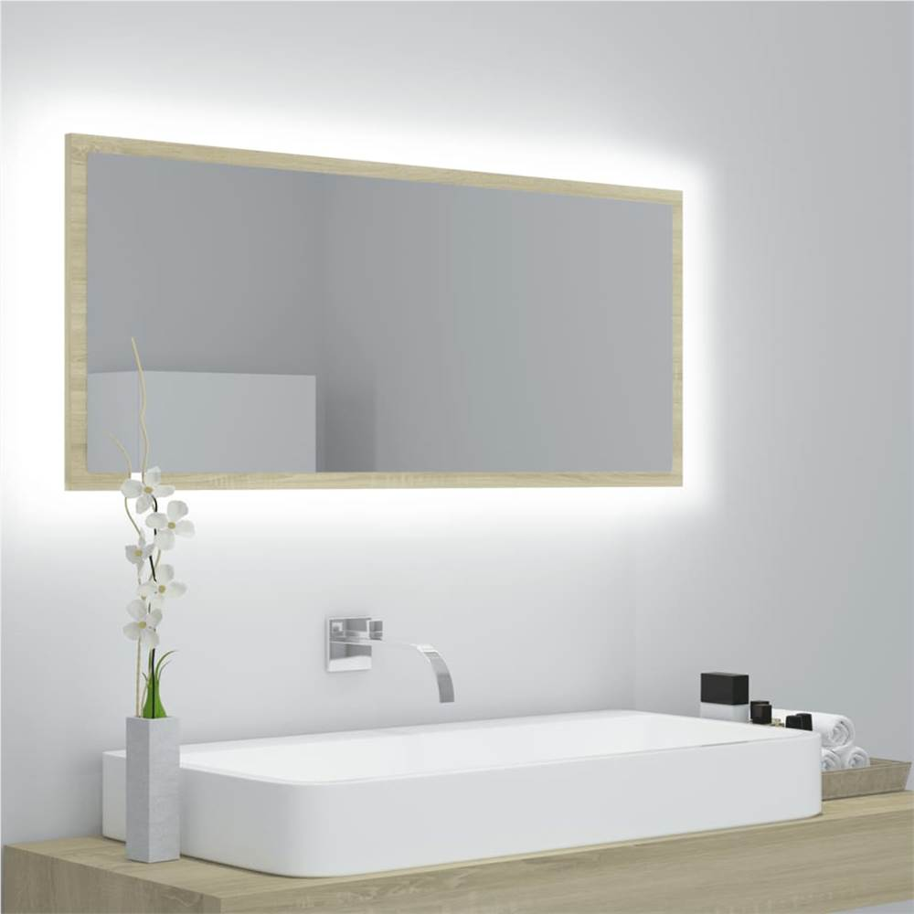 LED Bathroom Mirror Sonoma Oak 100x8.5x37 cm Chipboard