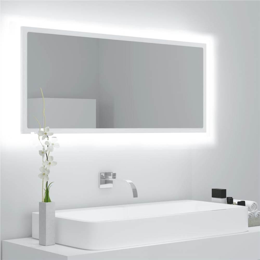 Specchio Bagno LED Bianco 100x8.5x37 cm Truciolare