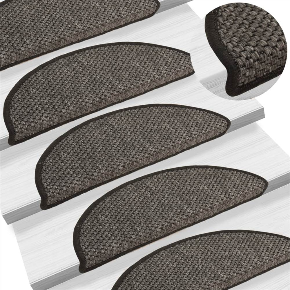 Self-adhesive Stair Mats Sisal-Look 15 pcs 56x20 cm Anthracite