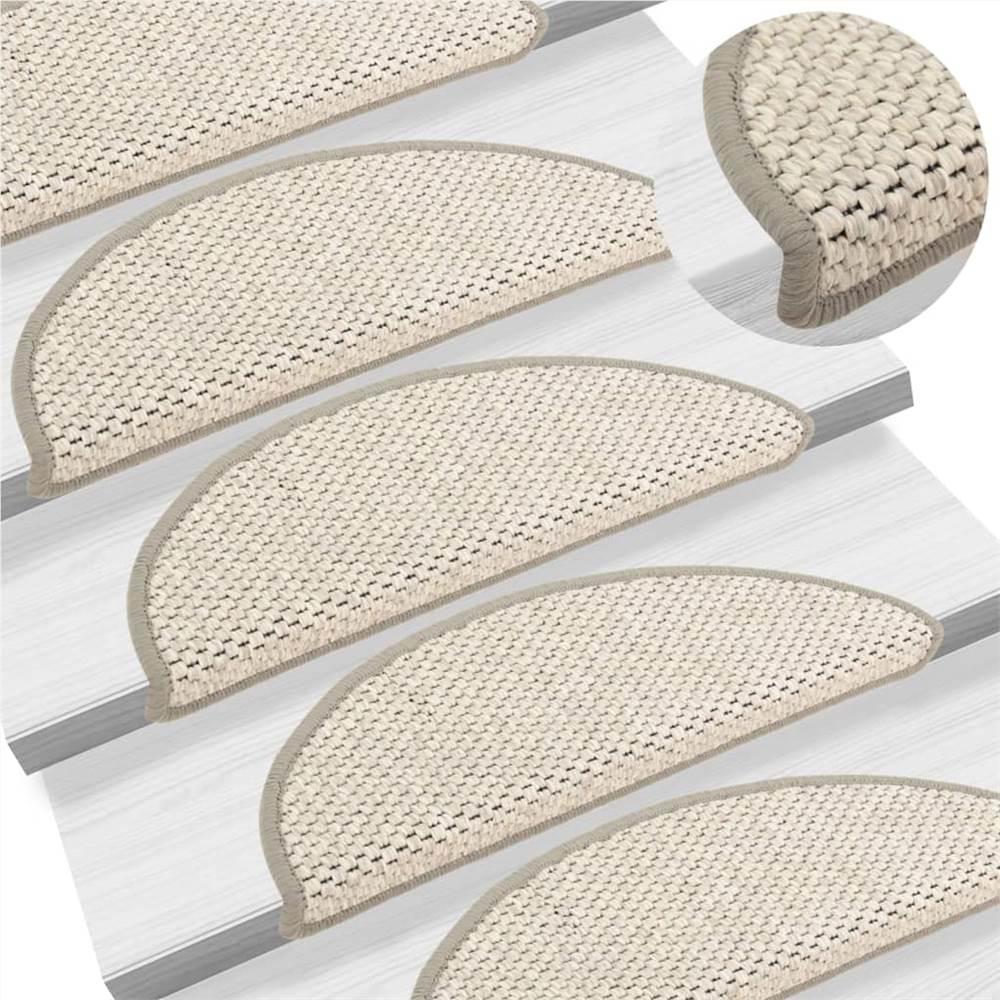 Tapis d'escalier autocollants aspect sisal 15 pcs 56x20 cm Beige