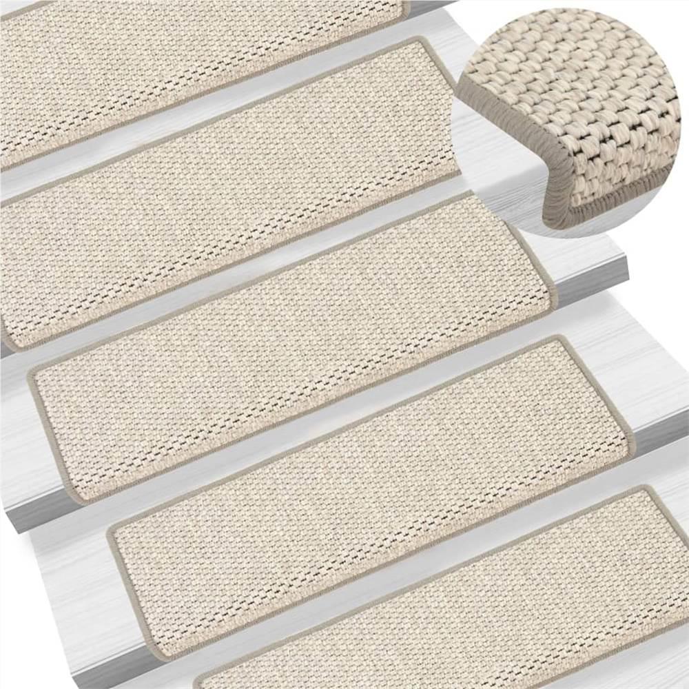 Tapis d'escalier autocollants aspect sisal 15 pcs 65x25 cm Beige