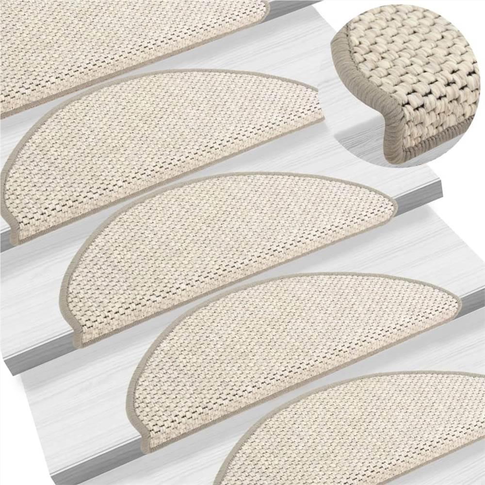 Selbstklebende Treppenmatten Sisal-Look 15 Stück 65x25 cm Beige