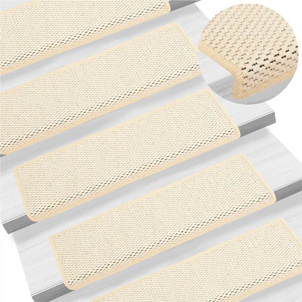 Tapis d'escalier autocollants aspect sisal 15 pcs 65x25 cm crème